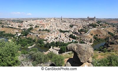 Toledo, Spain - Panoramic view over the old town of Toledo,...