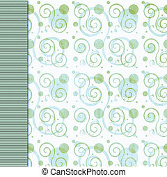 Retro green blue dot and swirl background - Olive green and...
