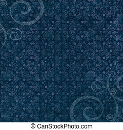 Dark blue swirl and dot pattern background - Dark blue dot...