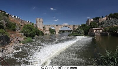 San Martin Bridge in Toledo, Spain - River Tajo and the...