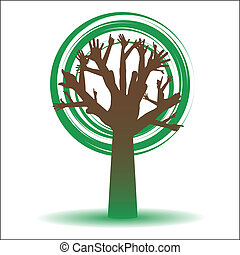 "ecology tree ""HELP"", vector"