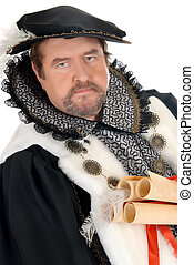 Man Shakespeare imitator - Middle aged man imitator dressed...