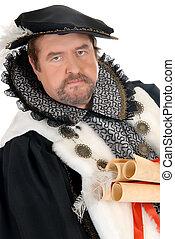 Man Shakespeare imitator - Middle aged man imitator dressed...