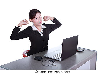 business woman relax in office. Isolated on white background