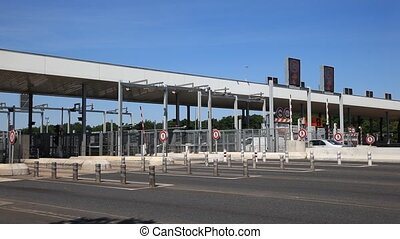 Toll station on the highway in France