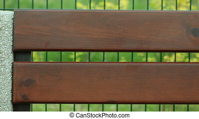 Brown wooden planks of bench - Wood background Brown wooden...
