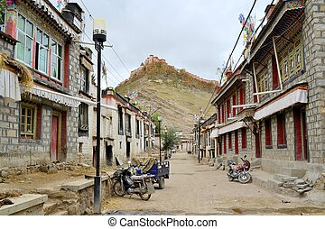 Dzong Fort and the town of Gyantse in Tibet. - Dzong Fort...
