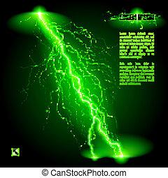 Oblique lightning line - Green oblique branchy lightning...
