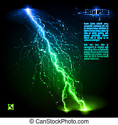 Oblique lightning line - Green and blue oblique branchy...