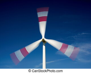 Moving wind turbine - Close-up of moving wind turbine with...
