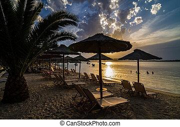 Greece lagoon beach in vourvourou resort .Halkidiki...
