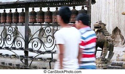 Buddhist prayer wheels Swayambhunath Stupa, Kathmandu,...