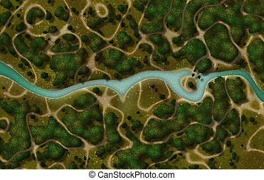 River Trail Cartoon Map as a GPS View