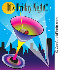 Friday postcard - It's Friday Night postcard vector art