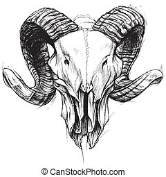 Ram Skull line work vector for use