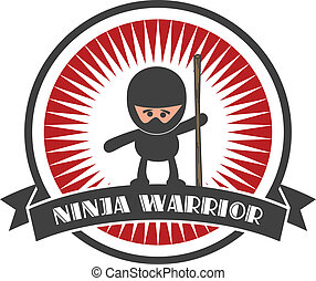 ninja cartoon - editable ninja cartoon label sticker vector...