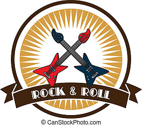 rock and roll guitar theme label sticker vector graphic art...