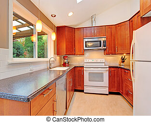 Bright kitchen room with skylight