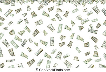 Its raining money - Stock image of falling money over white...