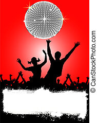 disco placard - illustration of a party placard