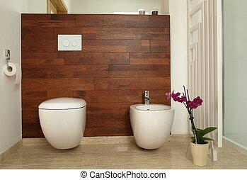 servicio, cuarto de baño, bidé, moderno