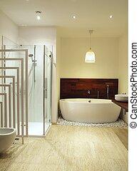 cuarto de baño, azulejos,  Travertine, contemporáneo