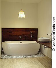 Freestanding bath - Close-up of a freestanding bath on the...