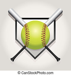 Softball, Bat, and Homeplate Emblem Illustration - An...