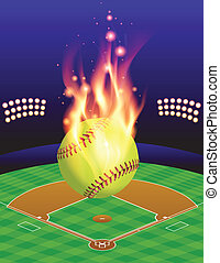 Softball Field and Fire Background - An illustration of a...
