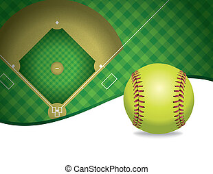 Softball and Field Copyspace Illustration - An illustration...