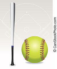 Softball Field, Ball, Bat Illustration - An illustration of...