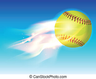 Flaming Softball in Sky Illustration - An illustration of a...