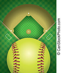 Softball Field and Ball Background Illustration - An aerial...