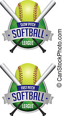 Softball League Emblems - An illustration of softball league...