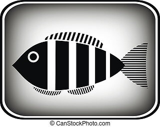Fish button on white background. Vector illustration.