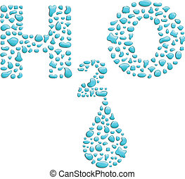 h2o - illustrations of a few drops of water to form the word...