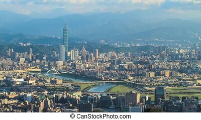 Time lapse of Taipei, Taiwan evening skyline for adv others...