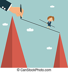 Businessman writting way for his partner to easy cross other hill, mentor and partnership concept.