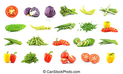Vegetables collection isolated on white