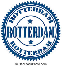 Rotterdam-stamp - Blue stamp with text Rotterdam,vector...