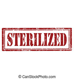 Sterilized-stamp - Grunge rubber stamp with text...