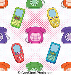 Seamless background, cartoon telephones - Seamless...