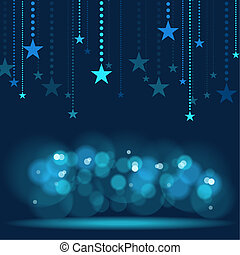 Hanging Stars - Blue Holiday Background Illustration, Vector