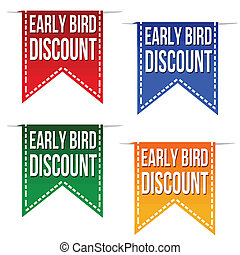 Early bird discount ribbons set on white, vector...