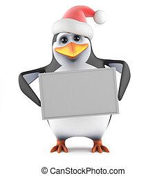3d Santa penguin holding a blank banner