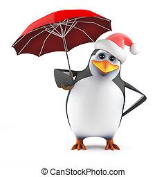 3d Santa penguin with a red umbrella - 3d render of a...