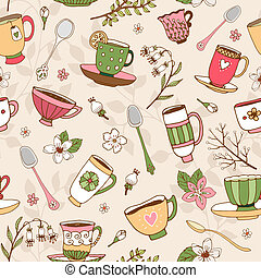 Seamless background of tea cups and spoons - Seamless...