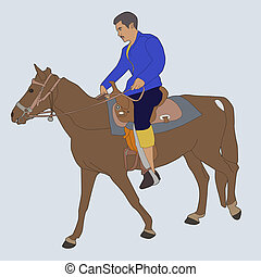 Horse riding - Vector illustration of horse riding