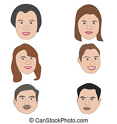 Human Faces - Vector illustration of cartoon avatar human...