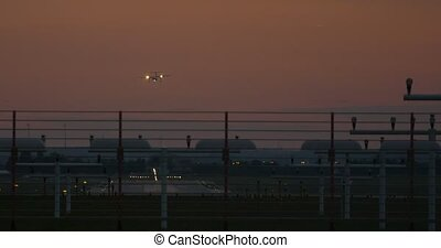 Airport Nuremberg, Germany, Planes landing and taking off,...
